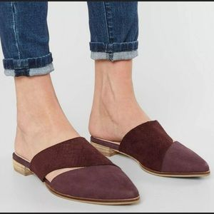 Mi.iM Epic Two-toned Pointed Mules in Wine Size 8